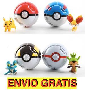 4 Pokebola+4 Pokemon Throw And Pop Envio Gratis Y Pikachu