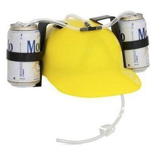 Casco Porta Latas De Cerveza Refresco Bebidas Amarillo G
