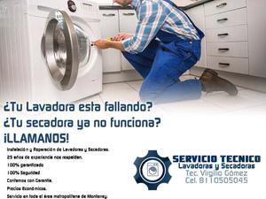Servicio de reparación e instalación de lavadoras y sec