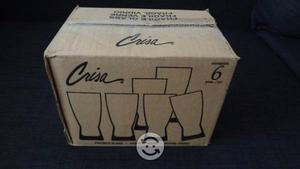 Set de 6 vasos de vidrio nuevos marca crisa
