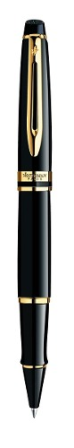 Waterman Expert Black With Golden Trim, Rollerball Pen With