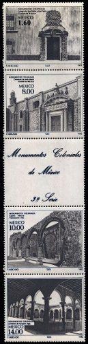 México Monumento Coloniales Tira 5 Sellos Mint N H