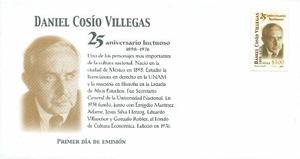 Sobre Primer Día Daniel Cosio Villegas 25 Aniversario