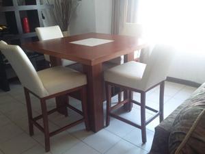 Comedor alto mesa tipo marmol 4 sillas nuevo posot class for Comedor alto