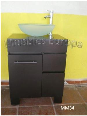 Pedestal para ba o con ovalin de cristal posot class - Muebles de bano con lavabo de cristal ...
