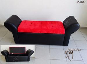 Pie de cama MALIBÚ practico bául negro con naranja bonito