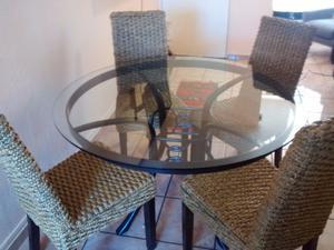 Sillas de madera tejidas con tule posot class - Comedor de cuatro sillas ...
