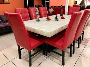 Comedor de piedra onix 8 sillas de tactopiel choc posot for Sillas comedor sevilla