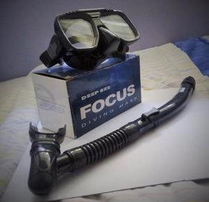 Visor Para Buceo, Modelo Focus, Color Negro Y Snorkel