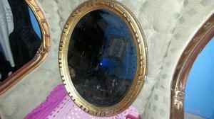 bonito espejo ovalado hoja oro