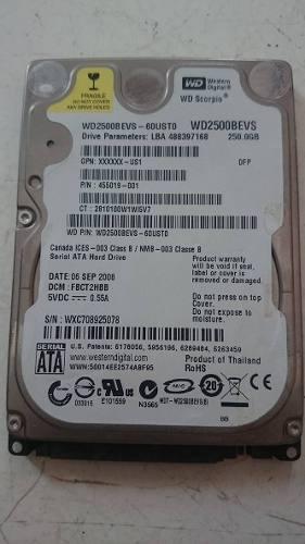 Disco Duro Western Digital 250 Gb 2.5 Sata Wdbevs Laptp