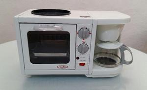 Mini horno eléctrico con cafetera y plancha