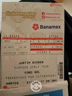 Boleto concieto Justin Bieber 21 febrero