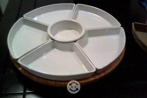 Botanero de ceramica con base de bambú giratoria