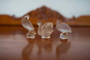Juego De 3 Figuras Miniatura De Cristal Francés De Lalique