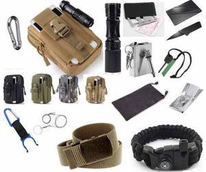 Kit Accesorios Supervivencia + Bolsa Celular Militar Tactico