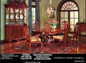 Comedor de Madera 6 sillas Mod Kingpedestal NUEVO