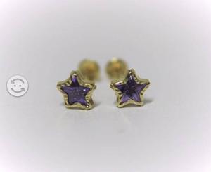 Broqueles de oro 10k en forma de estrella morada