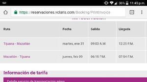 Venta 3 boletos volaris Tijuana-Mazatlan