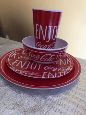 Vajilla Coca Cola Plato Vaso Melamina original lote