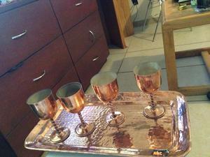 Copas y charola de cobre
