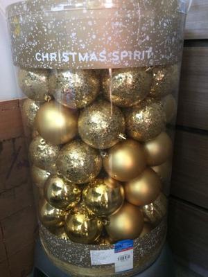 Esferas Navideñas doradas, paquete con 120 pz