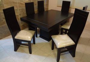 Comedor lovisa contempo minimalista 6 sillas milan posot for Sillas para antecomedor