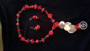 Collar de coral rojo y plata.925