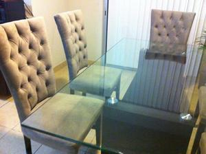 comedor 8 sillas capitoneadas, base y cristal nuevos.