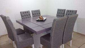Sillas para comedor nuevas en terciopelo gris posot class for Sillas comedor nuevas