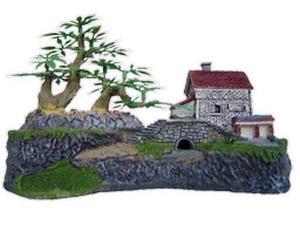 Adorno para pecera casita con arbol y puente