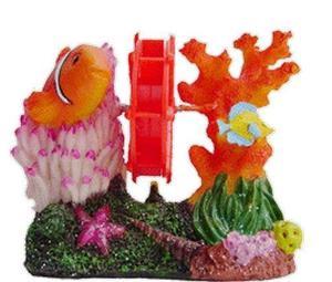 Adorno para pecera molino con peces y corales con aereador y
