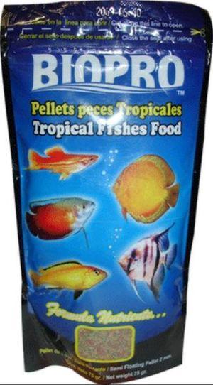 Alimento para peces tropicales en pellets 75 gr.