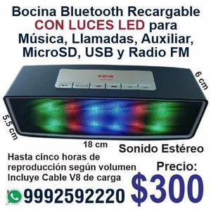 Bocina Bluetooth con Luces Led para Música, Llamadas,