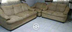 Sala 3 piezas tela suele color beige