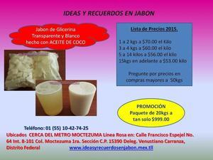 $49 por Kilo en Paquete de 20 Kilos de Jabón de Glicerina