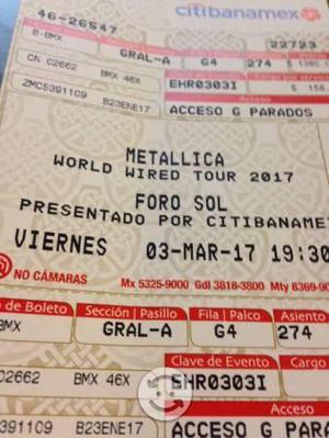 Boleto Metallica Foro Sol 2017