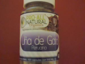 Uña de Gato peruana 100 caps pura y organica $220 c/u