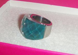 Anillo Frau Piedra Cristal Azul Turquesa Acero Inoxi 6