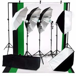 Kit Estudio Fotografico Luz Fondos Sombrillas Softbox Focos