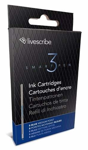 Paquete De 8 Repuestos De Tinta Para Livescribe 3 Azul Media