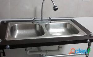 Mueble de cocina con tarja doble posot class - Muebles cocina industrial ...