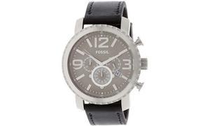 Reloj Cronógrafo Fossil Caballero Gris Con Negro Nuevo