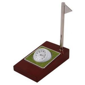 Reloj De Escritorio Con Pluma Y Base De Madera.