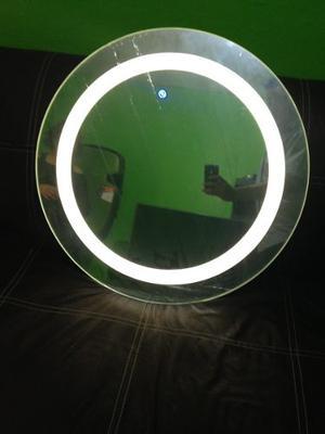 Espejo Redondo Con Luz Led Y Bocinas Vía Bluetooth