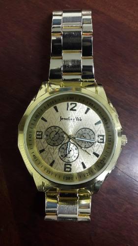 Reloj Caballero Automatico Contra Agua Dorado
