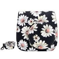 Elvam Black Flower Floral Cotton Canvas Fujifilm Instax Mini