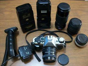 Camara Canon Ae1 Program Slr Reflex, 4 Lentes, 2 Flash
