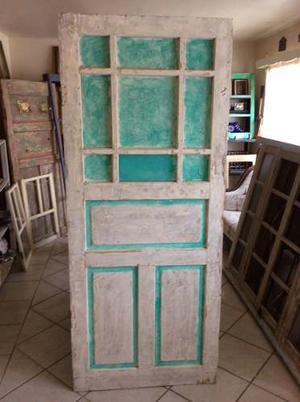 Puerta De Madera Antigua Con Efecto Deslavado 194x81x4cm