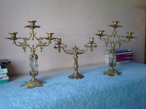 juego de candelabros de bronce